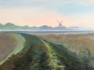 Cley Mill, Misty Morning Acrylic on board 46x61cms