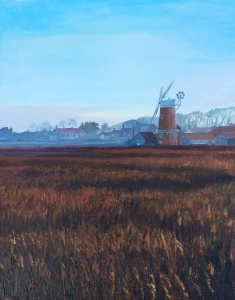 Cley Mill with reed bed Acrylic on board 51x41 cms