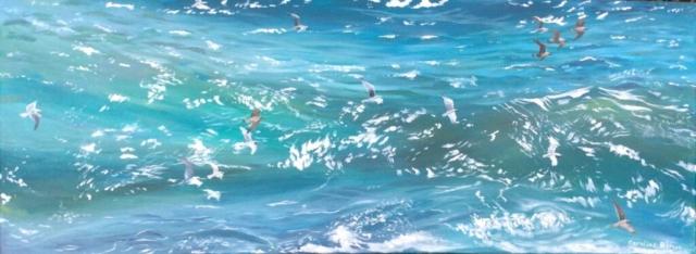 Seagulls and spray